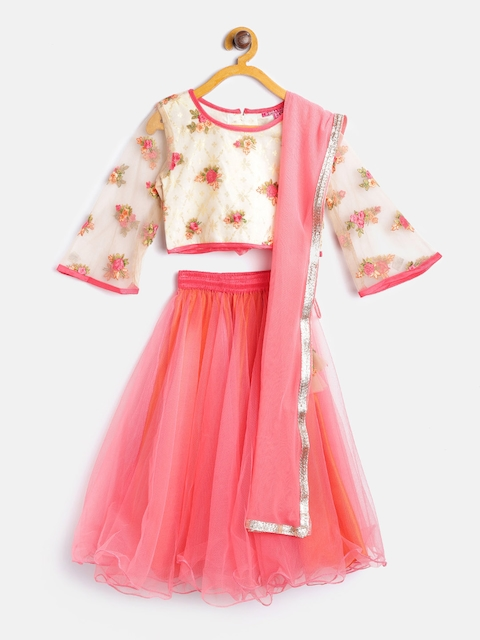 Biba Girls Coral Pink & Cream-Coloured Ready to Wear Lehenga & Blouse with Dupatta