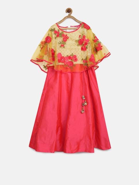 Biba Girls Pink & Yellow Embroidered Top with Skirt