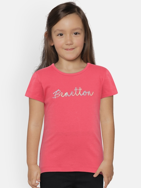 United Colors of Benetton Girls Coral Pink Round Neck T-Shirt