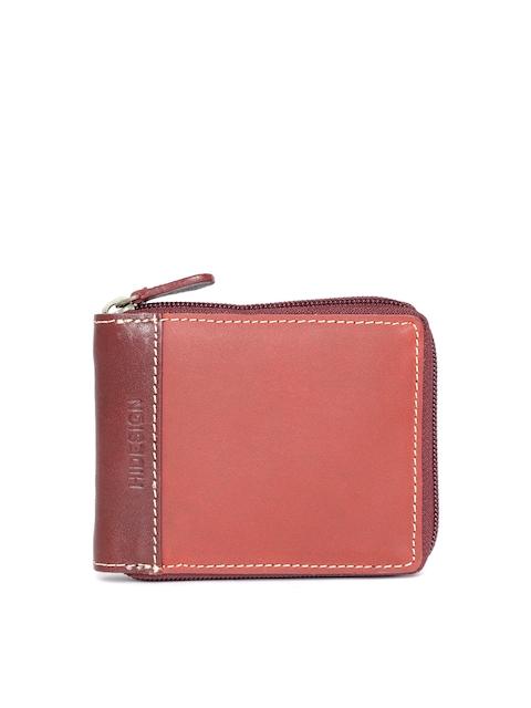Hidesign Men Rust Red Leather Solid Zip Around Wallet