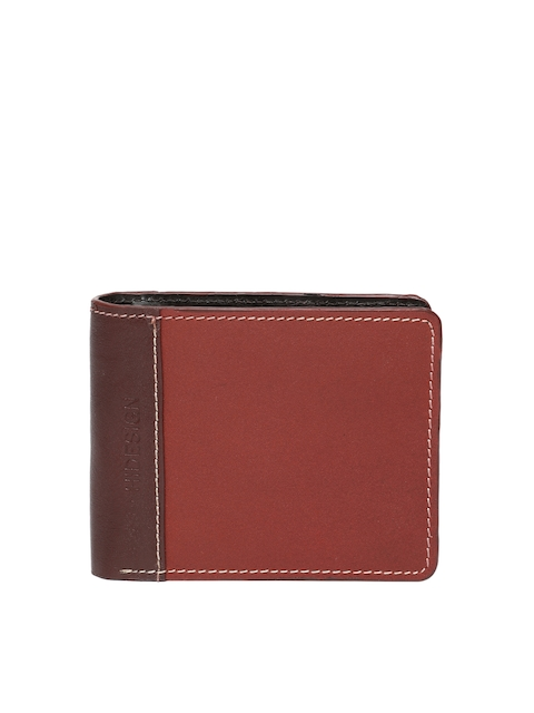 Hidesign Men Red Solid Two Fold Leather Wallet