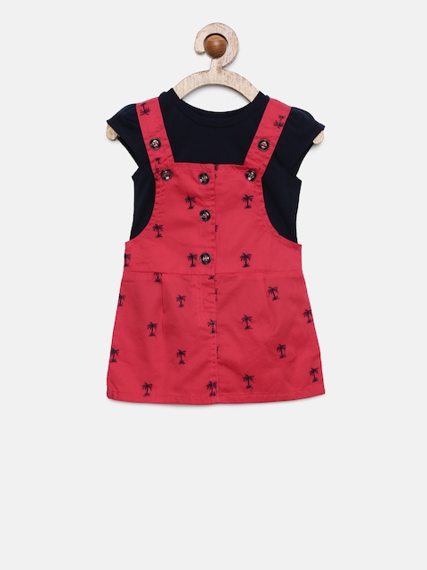 Peppermint Girls Red PALM PARADISE Printed Pinafore Dress with a T-shirt