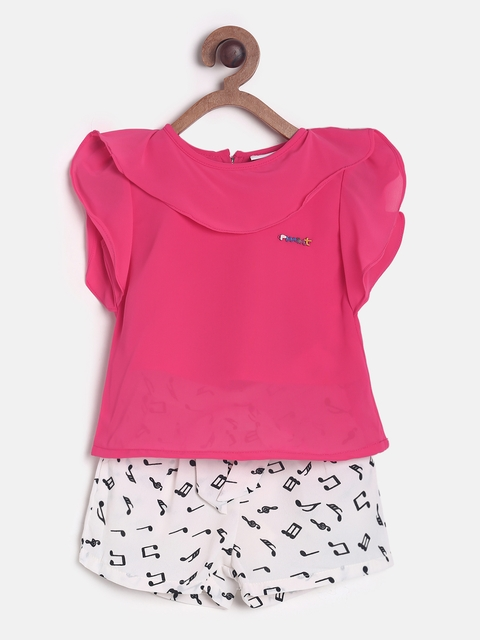Peppermint Girls Pink & White Solid Top with Shorts