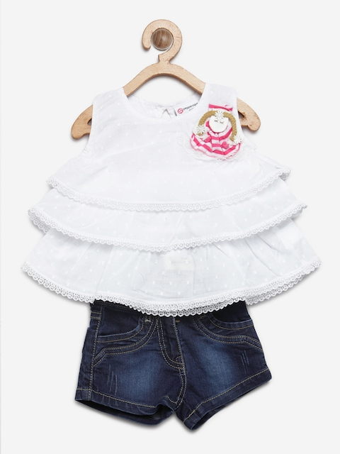 Peppermint Girls White & Navy Blue Self-Design Top with denim Shorts