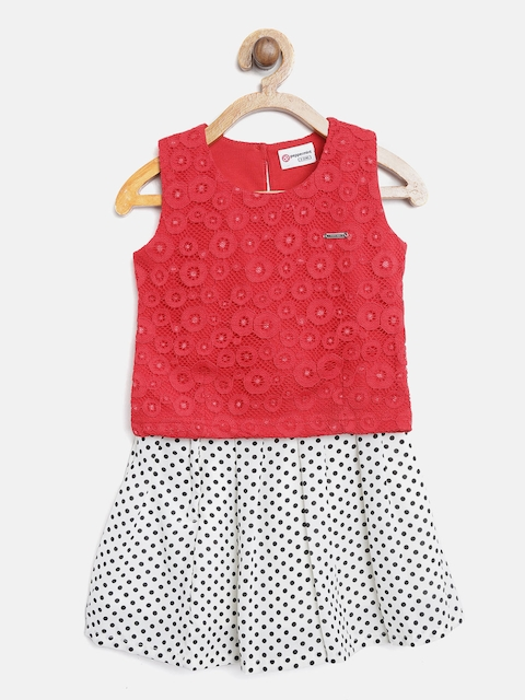 Peppermint Girls Red Self Design Top with White Printed Skirt