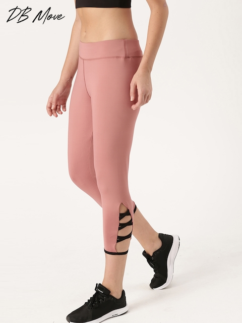 DressBerry Move Women Pink Solid 3/4th Tights