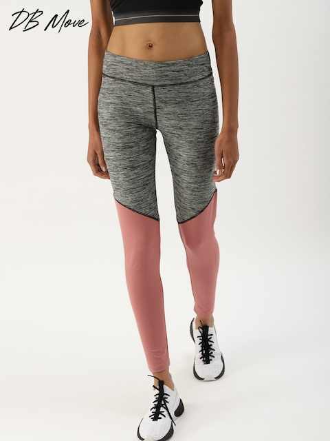 DressBerry Women Pink & Grey Colourblocked Tights