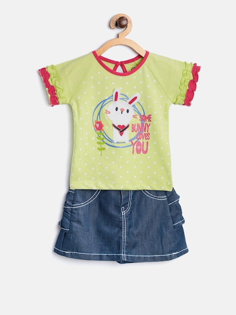 TAMBOURINE Girls Lime Green & Blue Printed Top with Skirt