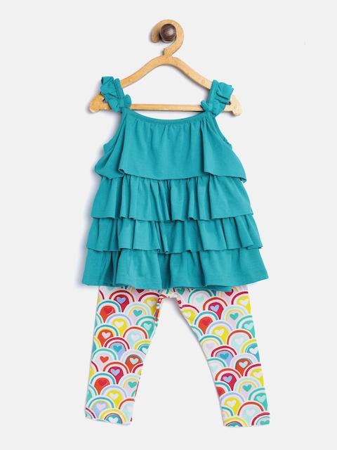 TAMBOURINE Girls Turquoise Blue Ruffled Top with Leggings