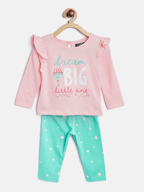 TAMBOURINE Girls Pink & Sea Green Printed Top with Leggings