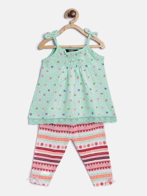 TAMBOURINE Girls Sea Green & Peach-Coloured Printed Top With Leggings