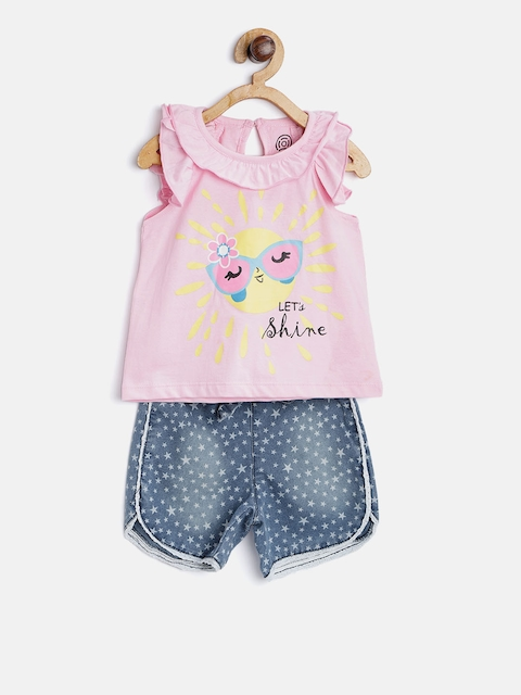 TAMBOURINE Girls Pink & Blue Printed Top with Shorts