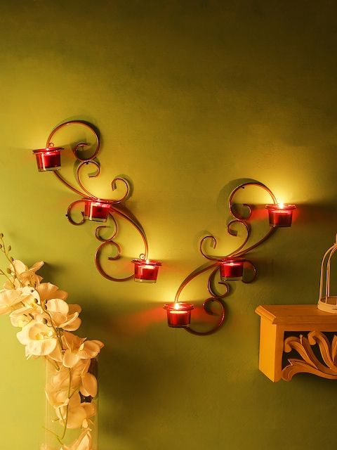 Home Sparkle Set of 2 Gold-Toned Iron Tealight Candle Holders with 6 Glass Cups
