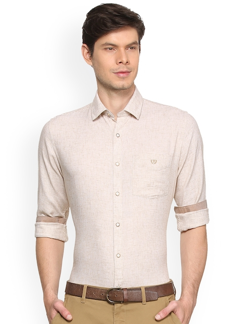 Van Heusen Sport Men Beige Slim Fit Self Design Casual Shirt