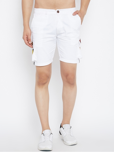 White Twill Patched Cargo Shorts