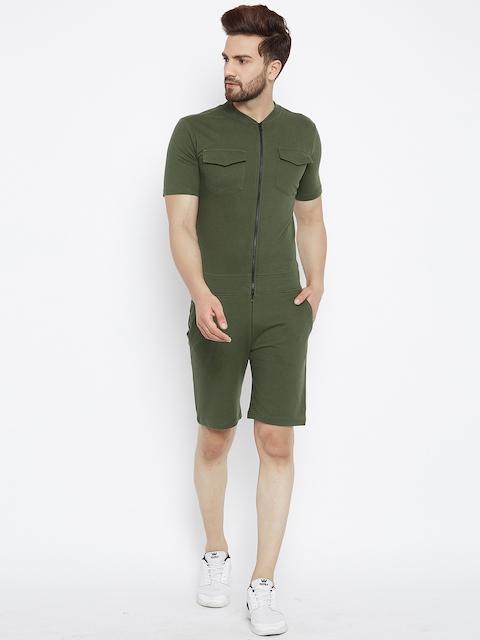 FUGAZEE Men Olive Green Slim Fit Playsuit
