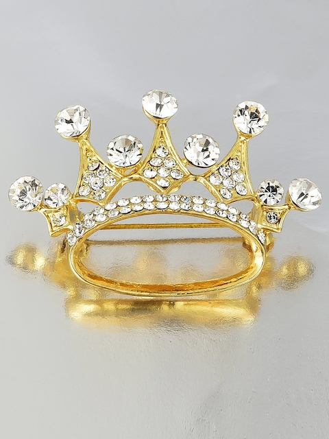 Crunchy Fashion Women Gold-Toned Stone-Studded Crown-Shaped Brooch