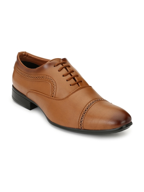 Fentacia Men Tan Brown Woven Design Formal Oxford Shoes