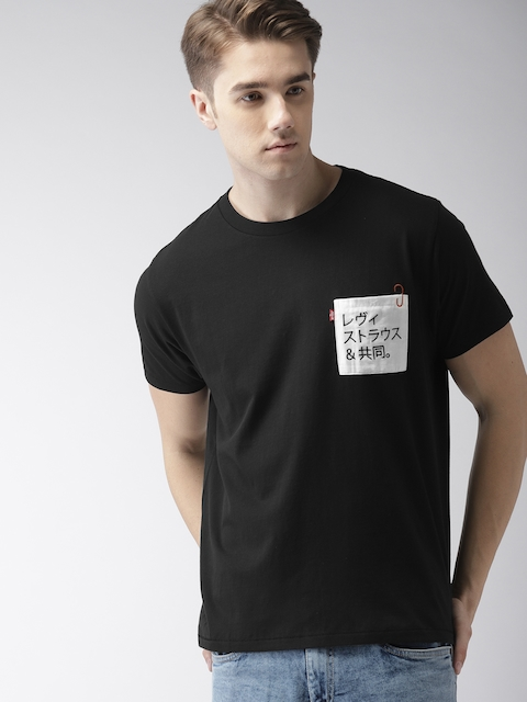 Levis Men Black Solid Round Neck T-shirt