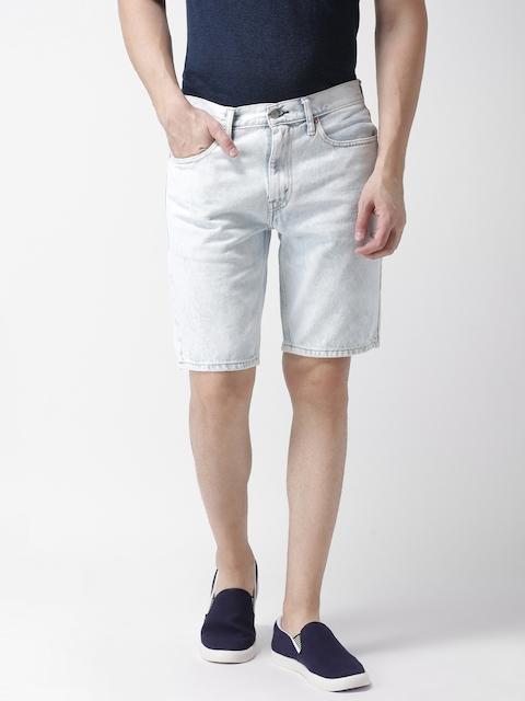 Levis Men Blue Washed Tapered Fit Denim Shorts 502
