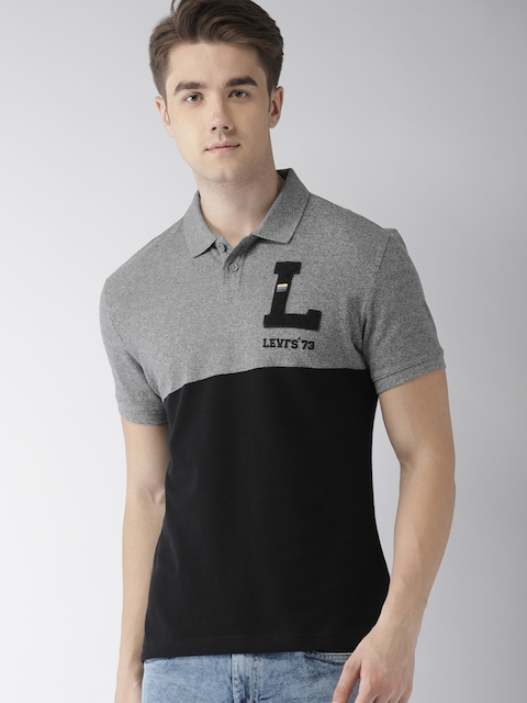 Levis Men Black & Grey Colourblocked Polo Collar T-shirt