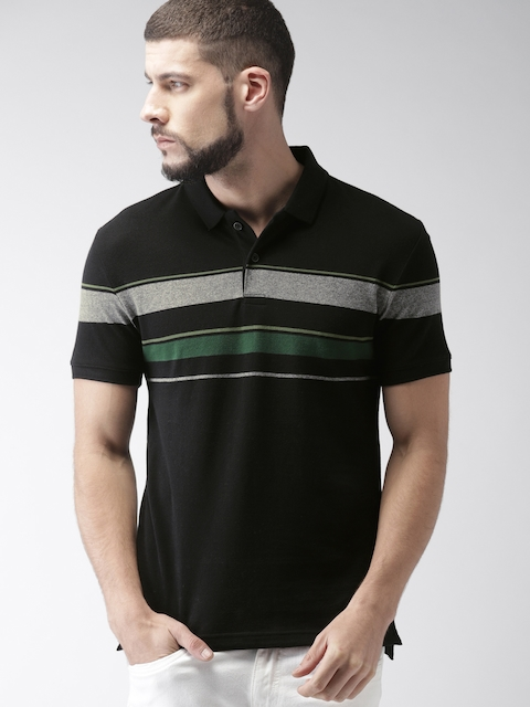 Levis Men Black & Grey Striped Slim Fit Polo Collar T-shirt