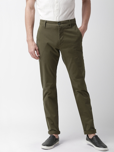 Levis Men Olive Green Tapered Fit Solid 512 Chinos