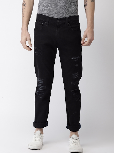 ca642c6c 60%off Levis Men Black Slim Fit Low-Rise Highly Distressed Stretchable Jeans