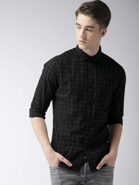 Levis Men Black & White Regular Fit Checked Casual Shirt