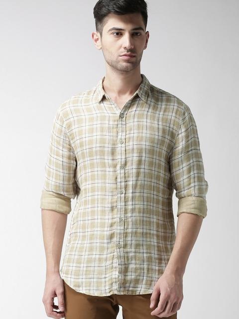 Levis Men Beige & Maroon Checked Linen Shirt