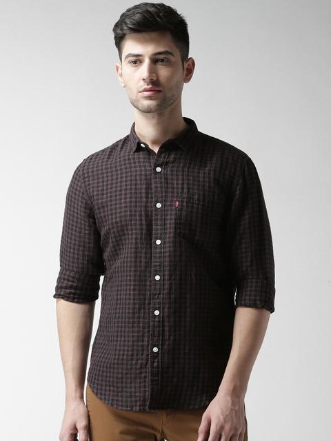 Levis Men Black & Purple Regular Fit Checked Casual Shirt