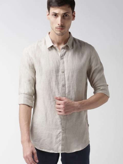 Levis Men Beige Trim Slim Fit Solid Casual Linen Shirt