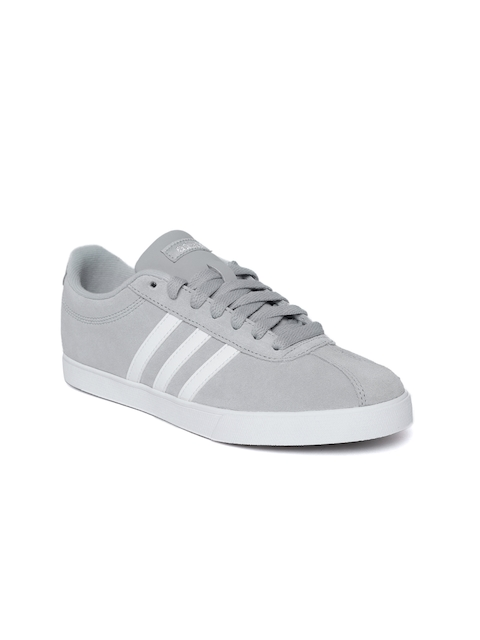 Adidas Women Grey Courtset Suede Tennis Shoes