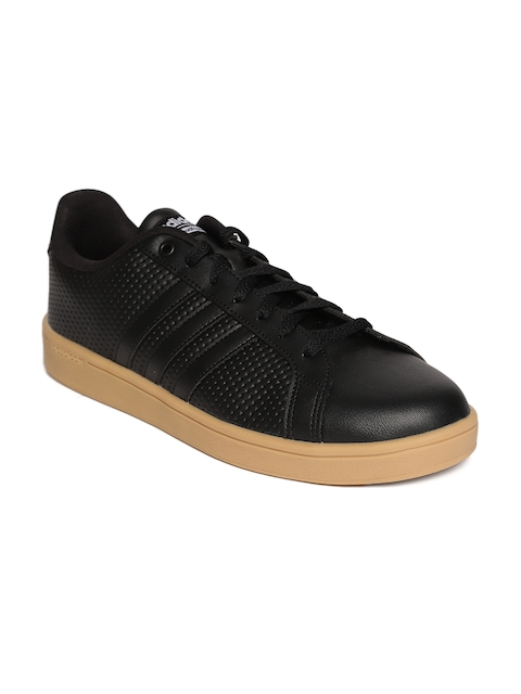 Adidas Men Black CF Advantage Perforated Tennis Shoes