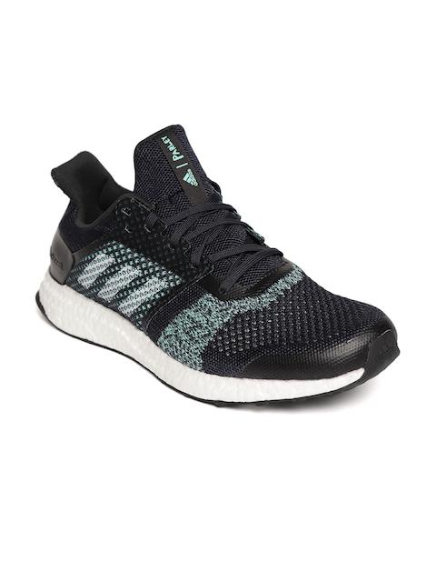 ADIDAS Men Navy Blue & Sea Green Ultraboost ST M Parley Running Shoes