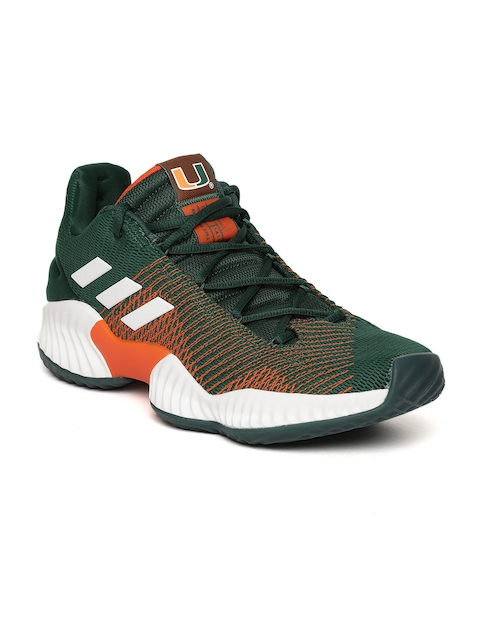 Adidas Men Green & Orange Pro Bounce 2018 Patterned Basketball Shoes