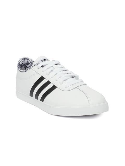 Adidas Women White COURTSET Leather Tennis Shoes