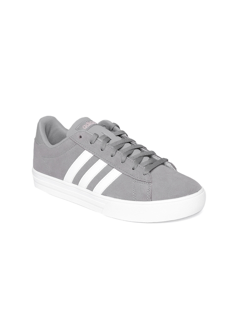 Adidas Women Grey Daily 2.0 Leather Basketball Shoes