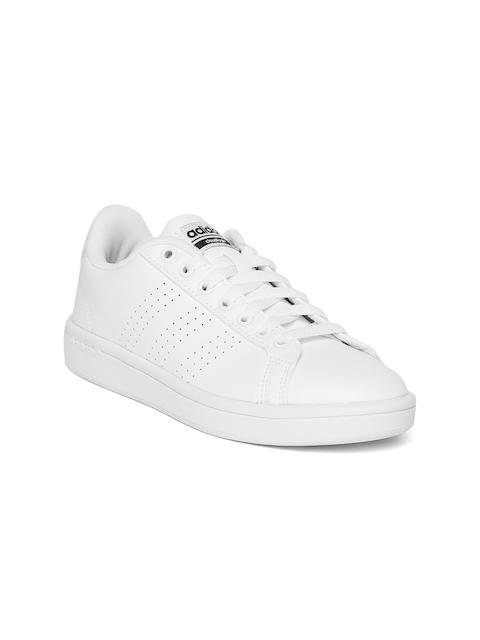 Adidas Women White Cloudfoam Advantage Clean Tennis Shoes