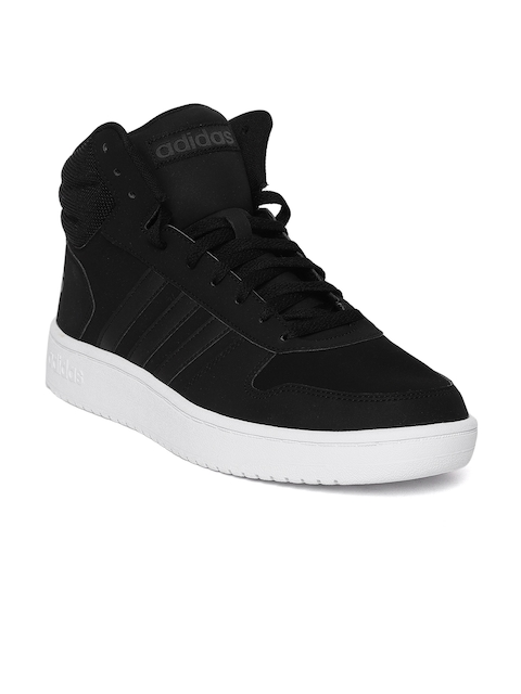 Adidas Men Black Hoops 2.0 Mid Leather Basketball Shoes