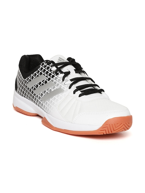 Adidas Men White & Black Net Nuts Indoor Badminton Shoes