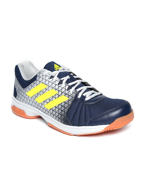 Adidas Men Navy Blue & Silver-Toned Net Nuts Indoor Printed Badminton Shoes