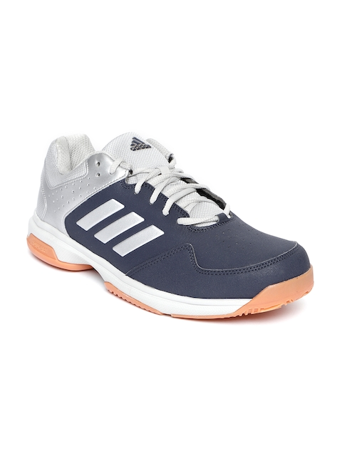 Adidas Men Navy Blue & Silver-Toned Quick Force IND Colourblocked Badminton Shoes