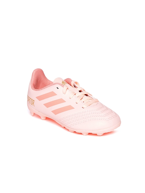 Adidas Kids Peach-Coloured PREDATOR 18.4 Firm Ground Football Shoes