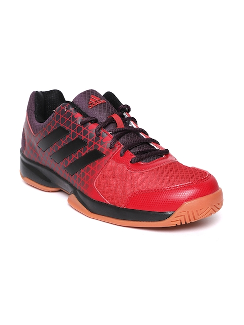 Adidas Men Red & Black Net Nuts Indoor Printed Badminton Shoes