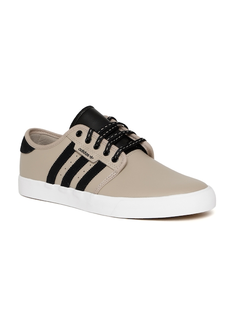 Adidas Originals Men Beige Seeley Leather Skateboarding Shoes