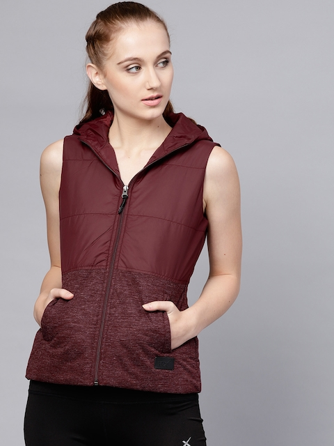 HRX by Hrithik Roshan Women Maroon Solid Padded Jacket