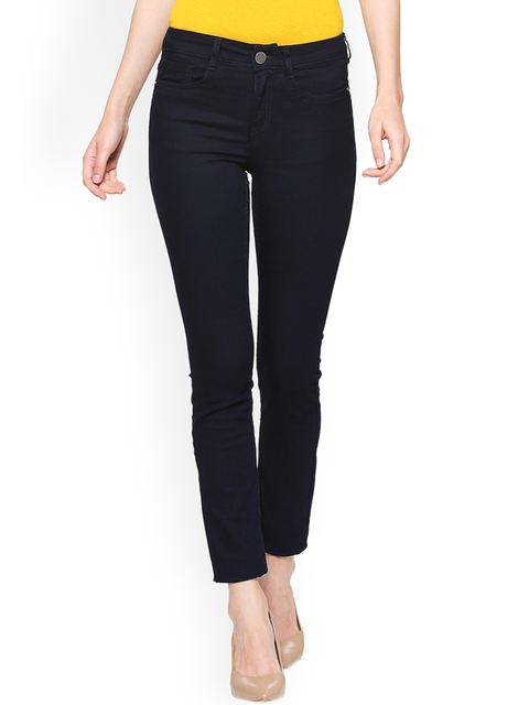 Van Heusen Woman Navy Blue Slim Fit Mid-Rise Clean Look Stretchable Jeans