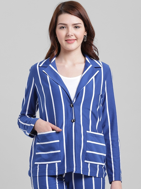 Texco Women Blue & White Striped Slim Fit Single-Breasted Casual Blazer