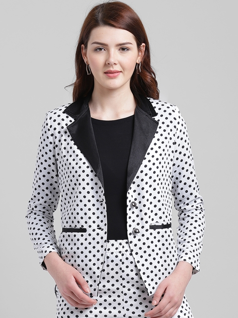 Texco Women White & Black Printed Slim Fit Single-Breasted Casual Blazer